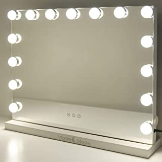 MoonMoon Hollywood Vanity Mirror with Lights,Professional Makeup Mirror with Smart Touch Adjustable 15 Bulbs LED Li...