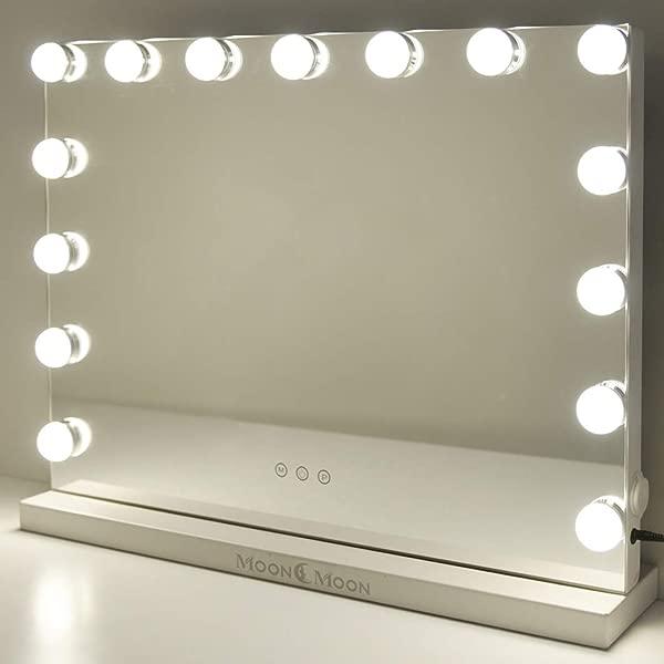 MoonMoon 好莱坞化妆镜带灯专业化妆镜带智能触摸可调 15 个灯泡 led灯和 USB 充电黑色