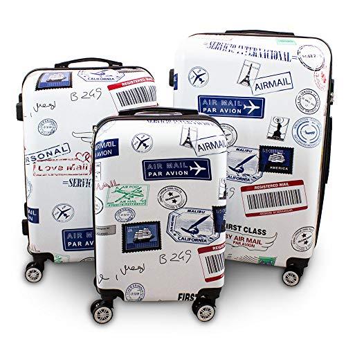BERWIN® Design Koffer Reisekoffer Trolley Hartschalenkoffer Polycarbonat mit 4 Rollen als Set (Stamps, 3er Set (M/L/XL))