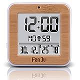 ALLOMN Reloj Despertador Digital, Reloj Inteligente de Viaje Mesa de Escritorio Reloj de Cabecera DCF Reloj de Alarma Dual, 12/24H, Temperatura y Humedad, Retroiluminación y Baterías AA (Madera)