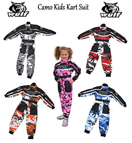 Wulfsport Junior Tarnfarbe Kinder Kart Suit Neu Motocross Quad MX Go-Kart ATV Enduro Sports Racing Overall Spring Suit - Blau, Junior (M) 7-8 Yrs