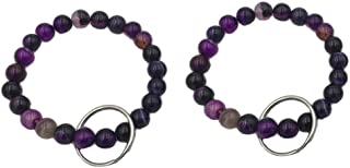 Bracelet Keychain Beaded Wrist Keyring Elastic Natural Stone Wristband Key Chain for Office Shopping Outdoor Pack of 2 Purple