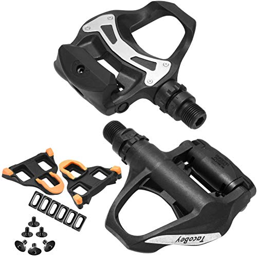 XEWEA Road Pedals Cleats Set for Shimnao SPD Clipless Pedals, Lightweight Self-Locking Cycling Pedals for Shimnao 105 SM-SH System Shoes Fitness Peloton Spin Bike