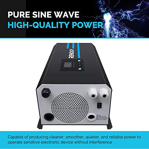 Renogy PCL1-20111S 2000 Watt 12V DC to 120V AC Pure Sine Wave Inverter Charger w/LCD Display, Lithium Battery Compatibility 6000W Surge