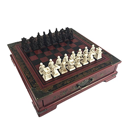 Ireav Retro Terracotta Warriors Chess Set for Kids and Adults Classic Family Chess Board Game with Folding Wooden Chessboard 3D Resin Chess Pieces and Storage Slots (10.23×10.23 inch)