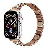 QINJIE Correa Compatible con Apple Watch 1/2/3/4 Correa de Repuesto de Metal Inoxidable con eslabones de Diamantes de imitación para Mujer,D,38MM