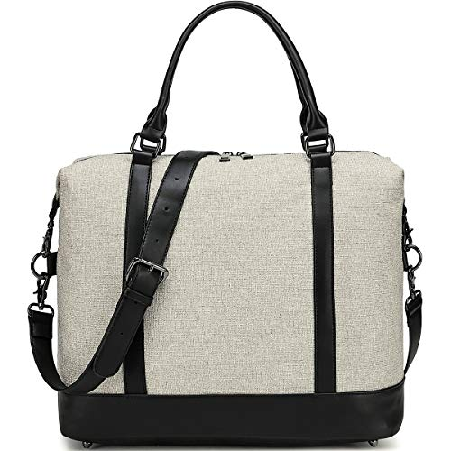 Women Ladies Weekender Bag Overnight Carry-on Tote Duffel in Trolley Handle (Off White)