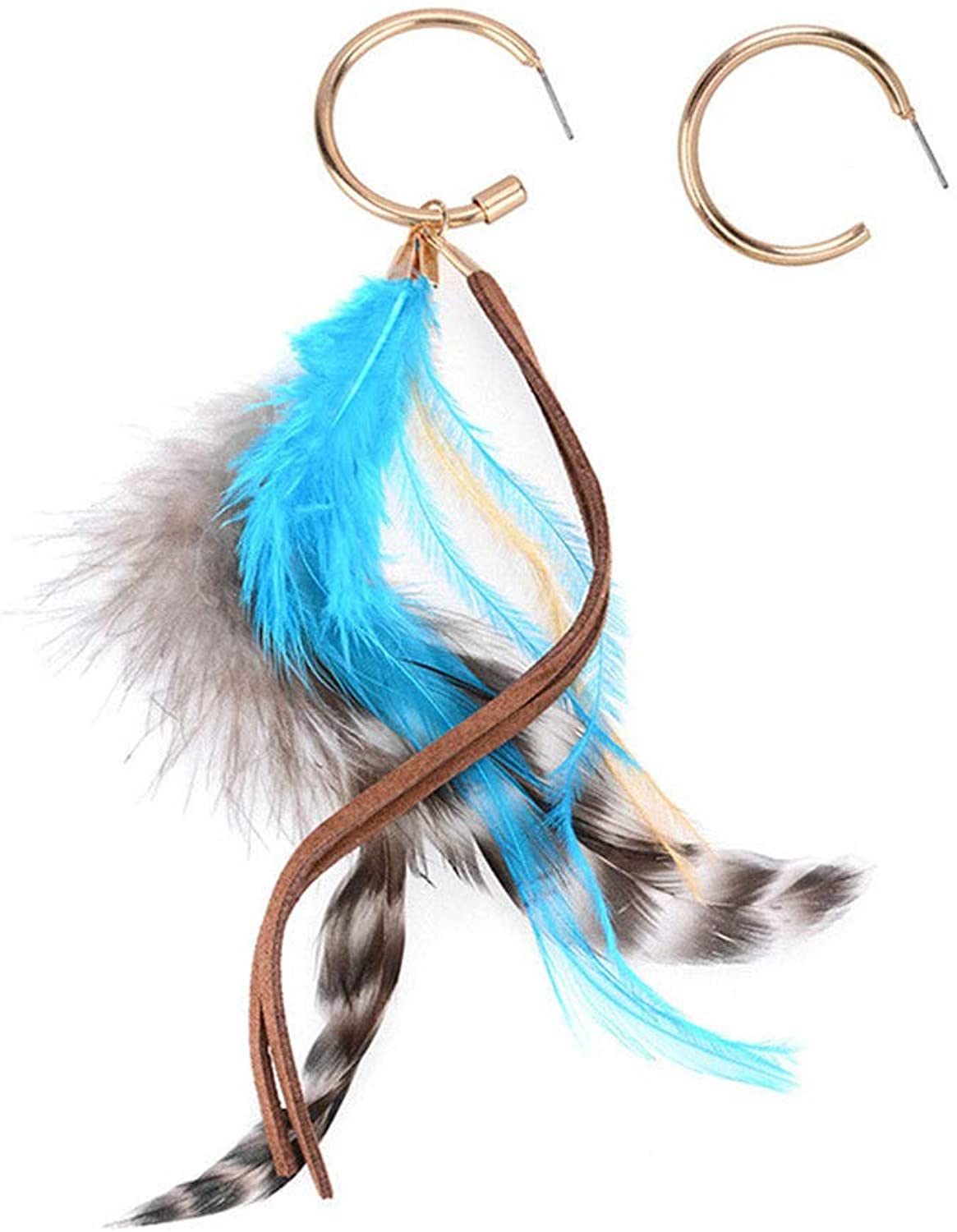 Dana Carrie European and American popular ear ornaments and stylish creativity, alloy ear screws personality wild national wind feather earrings girl bluee