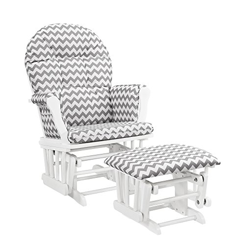 Windsor Glider and Ottoman-white with gray chevron