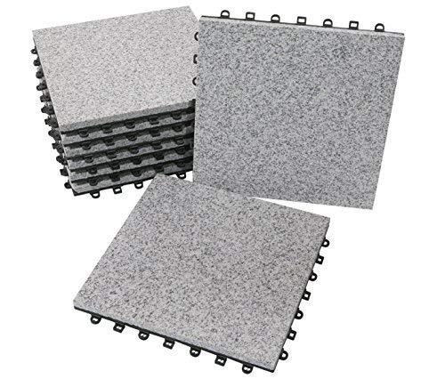 BodenMax Piastrella a incastro con clic in granito naturale | Modello CLASSICO | Grigio | 30 cm x 30 cm x 2,5 cm | Set da 8 piastrella = 0,72 m²
