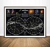 tgbhujk Sterne Karte Diagramm Konstellationen des Nordens Südlichen Hemisphären Riesen Film Wandkunst Dekor Leinwand Poster Ölgemälde 40 * 60 cm Ohne Rahmen