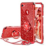 Cute iPhone 6s Case, Cute iPhone 6 Case, Glitter Luxury Bling Diamond Rhinestone Bumper with Ring Grip Kickstand Protective Thin Girly Red iPhone 6s Case/iPhone 6 Case for Women Girl - Red