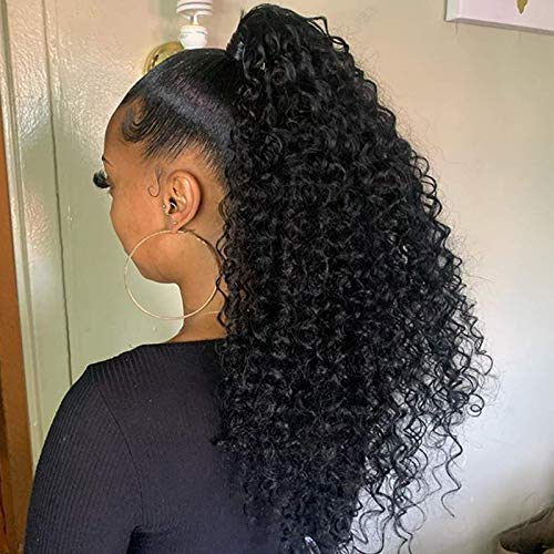 YEBO Drawstring Ponytail Afro Kinky Curly Ponytail Extension Short 16 Inch Synthetic Curly Ponytail Hair Pieces NaturalBlack for African American Women(#1B/16Inch)