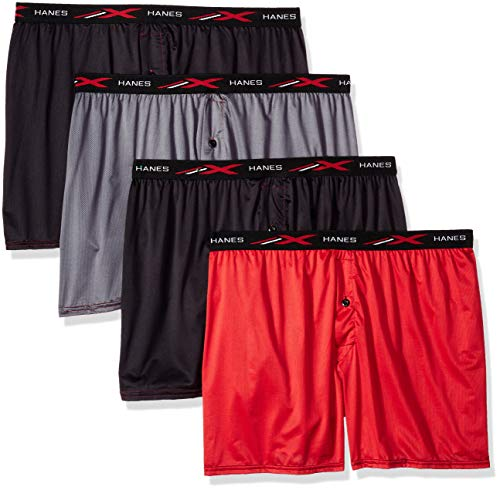Hanes Men's X-Temp 4-Way Stretch Mesh Knit Boxer 4-Pack, Assorted, Large