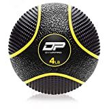DYNAPRO Medicine Ball | Exercise Ball, Durable Rubber, Consistent Weight Distribution, Comfort Textured Grip for Strength Training (4LB- Yellow)