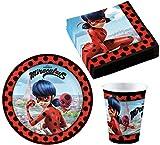 ZAG Heroes Vajilla de fiesta de Miraculous Ladybug para cumpleaños infantil, platos, vasos y...