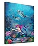 Mermaid Wall Art Girls Bedroom Wall Decor Underwater Ocean Canvas Pictures Coral Dolphin Tropical Fish Modern Artwork Contemporary Print Framed for Bathroom Living Room Home Office Kitchen Wall Decor 12' x 16'