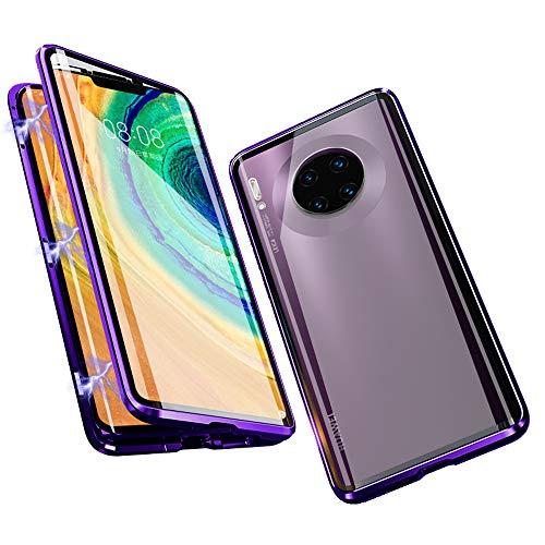 Funda para Huawei Mate 30 Pro (6,53 pulgada), Jonwelsy 360 Grados Delantera y Trasera de Transparente Vidrio Templado Case Cover, de Adsorción Magnética Metal Bumper Cubierta para Mate 30 Pro (Morado)