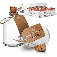 Minibotellas de vidrio con tapas de corcho para decoración de bodas y celebraciones, botellas de chupito de vidrio de 50 ml vienen con etiqueta de artesanía y cuerda adjunta (16 unidades)