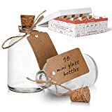 Mini botellas de vidrio con tapas de corcho para decoraciones de boda y celebraciones, botellas de chupito de vidrio de 50 ml vienen con etiqueta de manualidades y cuerda adjunta (paquete de 16)