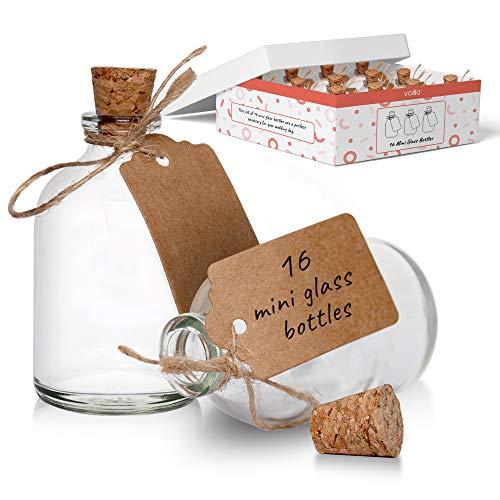 Mini botellas de vidrio con tapas de corcho para decoraciones de boda y celebraciones, botellas de vidrio de 50 ml vienen con etiqueta artesanal y cuerda adjunta (paquete de 16)