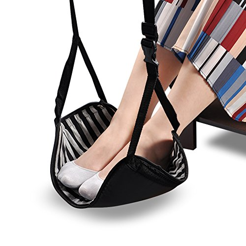 VGEBY Reisvoetensteun, verstelbare voetensteun, hangmat, bureau voetensteun met tas, voor kantoor, vliegtuig, bus