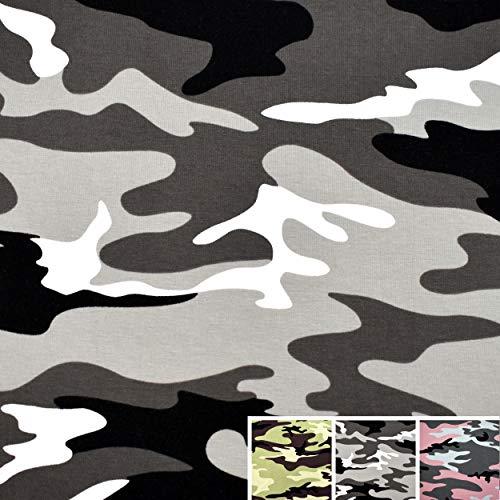 MAGAM-Stoffe Logan Camouflage Jersey Stoff Oeko-Tex Meterware 50cm (02. Grau)