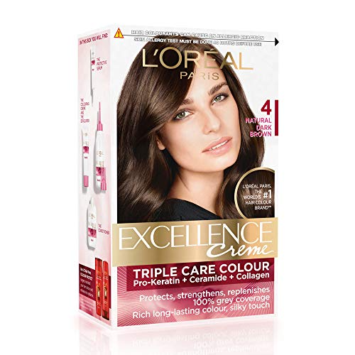 L'Oreal Paris Excellence Creme Hair Color, 4 Natural Dark Brown, 72ml+100g