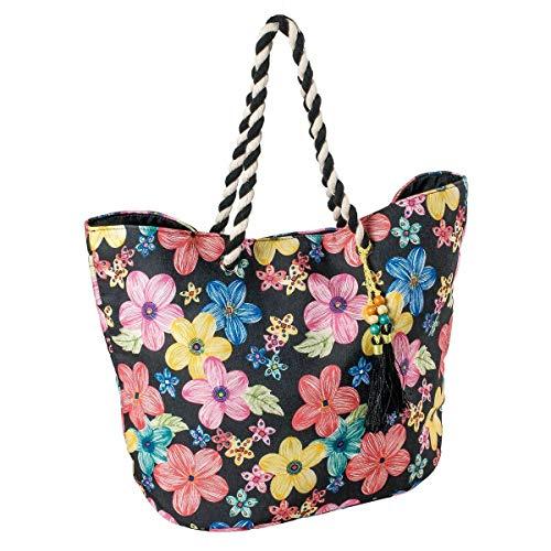 LaFiore24 Einkaufstasche Shopper Ethno Blumen Grosse XXL Damen Strandtasche Badetasche Schultertasche schwarz