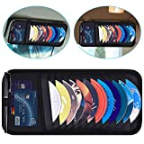 Car CD Case Holder, Wisdompro Vehicle Sun Visor Organizer for Cars with 12 DVD Storage Sleeves, 1 Mesh Pocket, 1 Pen Holder and Elastic Strap, Black