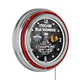 Trademark Global Chicago Blackhawks Chrome Double Neon Clock - 2015 Stanley Cup Champs