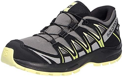 Salomon Kinder XA PRO 3D, Schuhe für Trail Running und Outdoor-Aktivitäten, ClimaSalomon Waterproof ,Grau (Gargoyle/Black/Charlock),38 EU