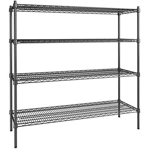 18 inch x 54 inch Certified Black Epoxy 4 Shelf Kit with 54 inch Posts. Storage Shelf. Garage Storage Shelves. Shelving Units and Storage. Food Storage Shelf. Storage Rack. Bakers Racks