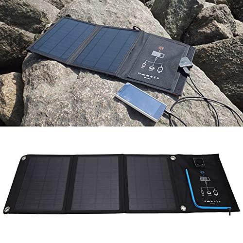 Qirg Cargador Solar de 2 Tomas USB, generador portátil Cargador de Panel Solar Plegable Cargador Solar de silicio monocristalino para Acampar en casa