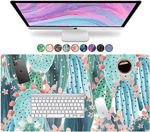 """French Koko Large Mouse Pad, Desk Mat, Keyboard Pad, Desktop Home Office School Cute Decor Big Extended Laptop Protector Computer Accessories Pretty Mousepad Women Girls XL 31""""x15""""(Cute Cactus)"""