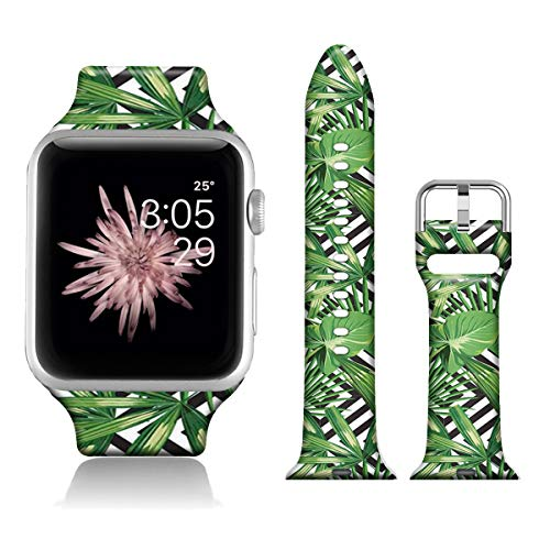 FTFCASE Sport Watch Bands Compatible with iWatch 40mm 38mm iWatch SE & Series 6 - Black Plaid Floral, Flower Printed Soft Silicone Strap Replacement for iWatch Series 6 5 4 3 2 1 for Women Men