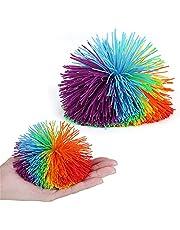 Bolas fibrosas de Mono para niños, Grandes Juguetes sensoriales Fidget, Bolas de estrés con pompón arcoíris, Juegos de Bolas antiestrés de Mono