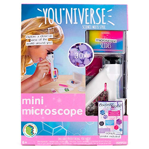 YouNiverse Mini Microscope by Horizon Group Usa,DIY Girl STEM Science Kit, Includes 1 Microscope, 5 Prepared Slides, 6 Blank Slides & More