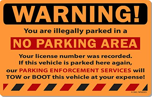 """50 Orange Fluorescent Warning NO Parking Area! Violation No Parking Towing Car Auto Sign Stickers 8"""" X 5"""""""