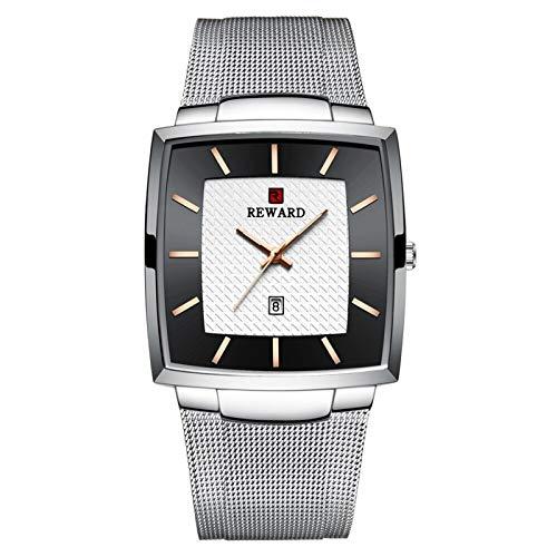 JISHIYU Impermeable Lujo de la Marca de Reloj de Cuarzo Relojes de los Hombres de Oro del Acero Inoxidable de los Hombres de Negocios Fecha de Pulsera (Color : Silver Black Box)