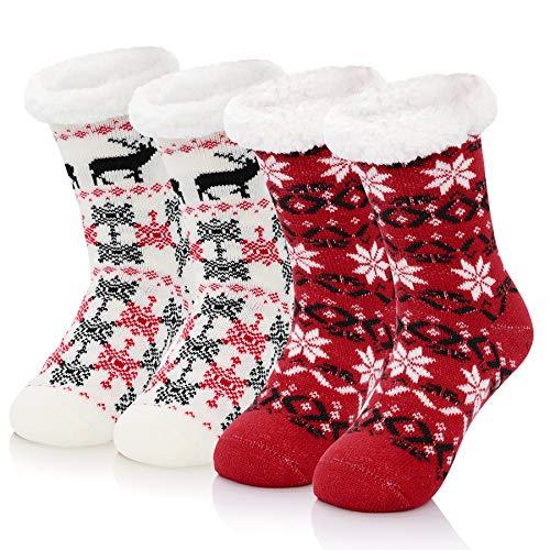 Zando Christmas Slipper Socks for Women Warm Fleece-Lined Fuzzy socks Winter Cabin Socks Non Slip Socks Super Soft Grip Socks Comfy Fluffy Socks Red Snowflake & White Deer One Size