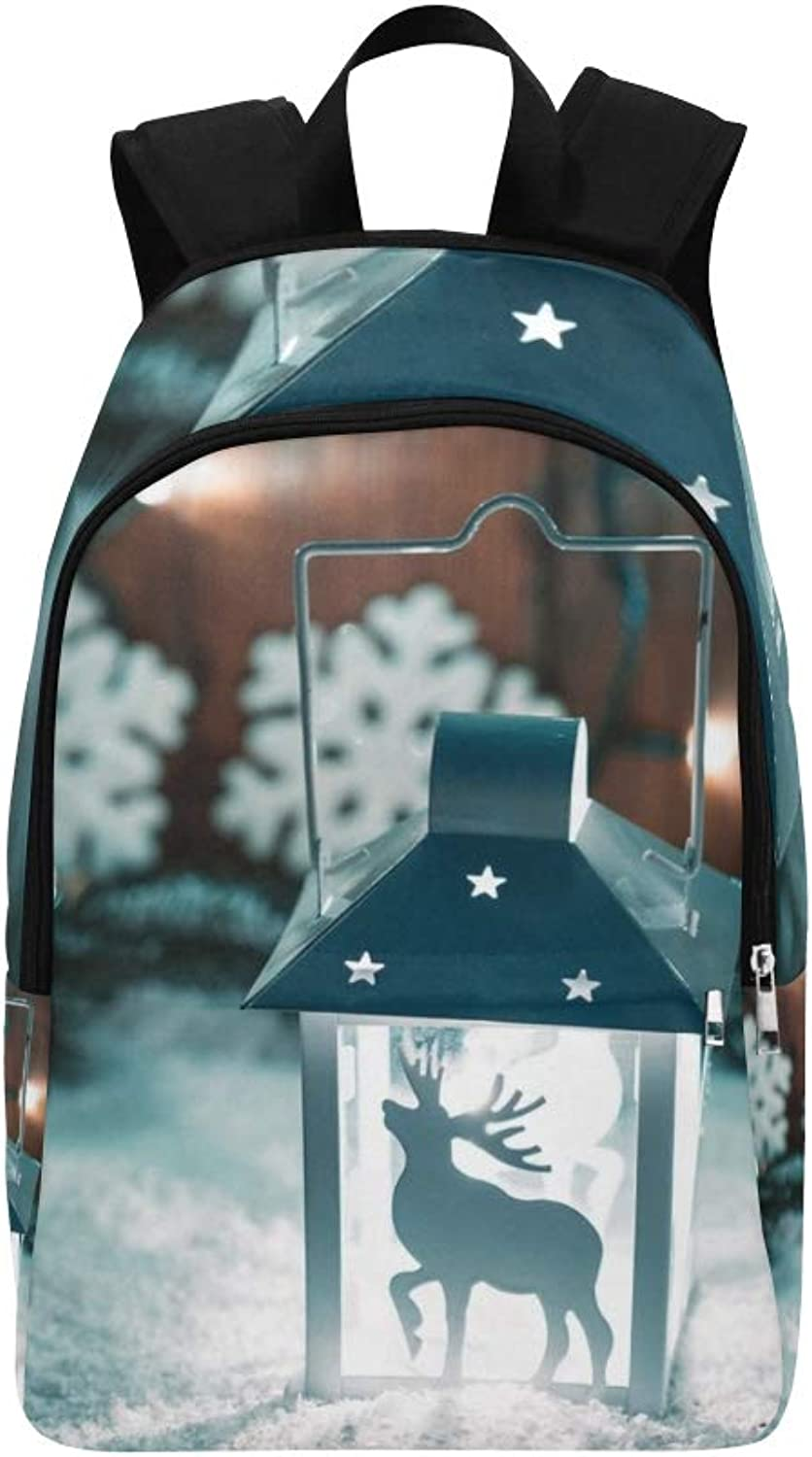 Christmas Candle Lantern Christmas Tree Branches Casual Daypack Travel Bag College School Backpack for Mens and Women
