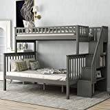 Twin Over Full Bunk Bed with Stairs / Solid Wood Bunk Beds with Storage and Guard Rail, Gray