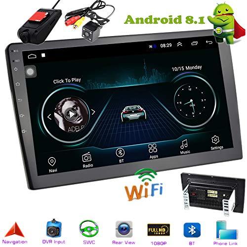 PolarLander 10 Pulgadas Android 8.1 Autoradio Bluetooth Universal 2 DIN Radio de Coche Android Reproductor estéreo Navegación GPS WiFi Bluetooth Reproductor MP5 con cámara de visión Trasera y DVR