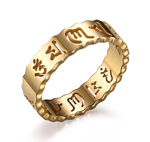 PJ Jewelry Womens 5mm Stainless Steel Hollow Buddhist Sanskrit Mantra Om Mani Padme Hum Band Ring,Size 8