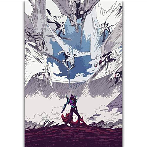 DPFRY Leinwandbild Neon Genesis Evangelion Das Ende Der Evangelion Japan Anime Wandkunst Malerei Druck Auf Seide Leinwand Poster Dekoration 40X60 cm Wk84Y Rahmenlose
