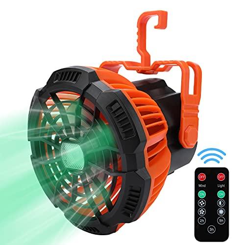 Ventilador USB Portátil, Ventiladores Recargable de Luz LED con Control Remot Timing, 3 Velocidades, Rotación de 180 °, Ventilador de Sobremesa para el Hogar Exterior Oficina Camping Viajes Carpas