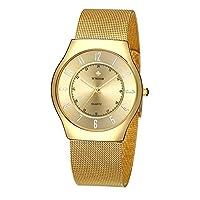 ユニセックスファッション腕時計カジュアルアナログクォーツWatchesスリムステンレススチールメッシュバンドMilanese光Watches ゴールド