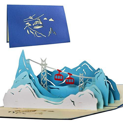 Gutschein Winterurlaub, Seilbahn Geschenk, Wandergutschein, Berghotel Gutschein Pop Up Karte T10