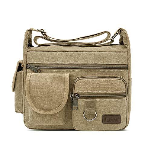 FANDARE Canvas Crossbody Tas Messenger Bag Satchel Schoudertas Werktas Boekentas Aktetas voor Mannen en Vrouwen